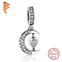 Wholesale Silver Diy Charms For Necklaces - BELAWANG New 925 Sterling Silver Moon Charm Pendant With Heart Clear Cubic Zircon fit Original Bracelet&Necklace DIY Beads For Women Jewelry