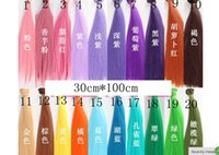 Wholesale Dolls Colorful Hair - 30*100cm BJD SD Doll Hair DIY High-temperature Colorful Wire Straight Hair Doll DIY Doll Accessories