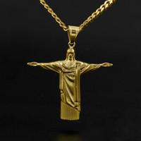Wholesale 14k gold jesus pendant - Hip Hop Redeemer Jesus Cross Pendant Stainless Steel Statue of Jesus Christ in Rio de Janeiro Brazil Cristo Redentor Free Chain