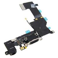 carga del muelle iphone 5s al por mayor-Cable de alta calidad del conector USB Dock del puerto de carga del conector de audio Jack para el iPhone 5S negro / blanco