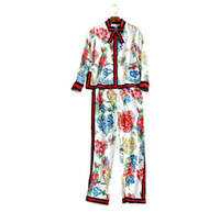 Wholesale Coat Pant Stand Collar - The new Europe and the United States women's 2017 spring Runway looks printing bowknot coat + wide-legged pants suit
