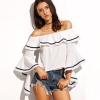 Wholesale Batwing Top Womens - 2017 New Fashion Loose Off Shoulder Crop Top For Womens Summer Printed T Shirt Batwing Flutter Sleeve Slash Neck White And Black FS1245