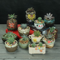 Wholesale Gardening ceramic flowerpot retro old flower pot meat hand painted ornaments Home Furnishing pot