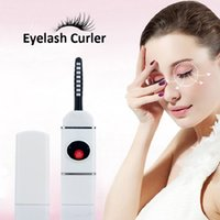 Wholesale Electric Heated Eyelash Curler - USB Recharge Creamic Heated Mini Electric Eyelashes Curling Eyelash Curler Perm Makeup Shaping Professional Beauty Tools 1pc