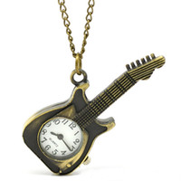 Wholesale Guitar Shape Glasses - Wholesale-Guitar Shape Pocket Watches For Women Men's Retro Bronze Fob Quartz Watch Mens Ladies Pendant Chain Watch Male Hours Montre #JO