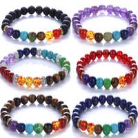 Wholesale Womens Stone Bracelets - buddha to buddha Mens Womens 7 Chakra Mixed Stone Healing Chakra Pray Mala Bracelet Lava Rock DIY Beads Jewelry Balancing Bracelets