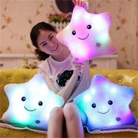 Wholesale yellow star pillow resale online - 5 Color Emoji Luminous pillow Christmas Toys Led Light Pillow plush Pillow Hot Colorful Stars kids Toys Birthday Gift x35cm B