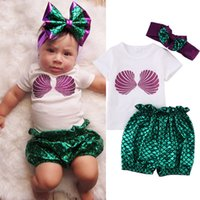 Wholesale Toddler Mermaid - 2017 Summer Toddler Lovely Kids Clothes Baby Girl Mermaid Short Sleeves T-shirt Tops+ Shorts Pants + Headband Outfit 23cs Set 1-3T