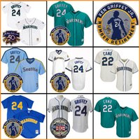 Wholesale Number 22 - Ken Griffey Jr. 24 Jersey Seattle Mariners Robinson Cano 22 Number Retirement Patch (Gold) baseball Jersey Cooperstown Cool Base Jersey