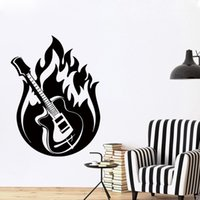 Wholesale Large Vinyl Music Wall Stickers - Cool graphics Wall Sticker Vinyl Decal Guitar Music Jazz Blues Fire Rock Home Interior Decoration Of High Quality Frescoes