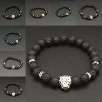 Wholesale Skulls Cuff - Silver Gold Lion Skull leopard Charm Bracelet Natural Stone Lava Rock Prayer Buddha Bracelet Bangle Cuffs for Women Jewelry Drop Shipping
