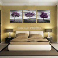 Wholesale purple picture frames - 3 Panles Tree Canvas Painting Purple Wall Art Painting Prairie Purple Tree Paintings with Wooden Framed For Home Decor as Gifts