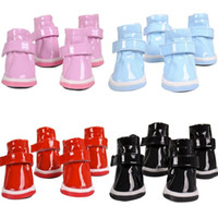 4Pcs Pet Puppy Shoes Small Dog Ruffle Soft PU Leather Winter Quente Anti-derrapante Booties Boots Shoes Waterproof