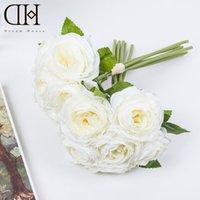 Wholesale Camellia Bouquet For Weddings - DH artificial camellia flower 6pcs   bouquet for home decoration accessories flores artificiais bouquet fake flower wedding decoration