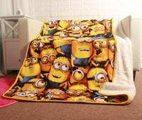 "Wholesale Sherpa Baby - Minions Cartoon 50x60"" 127x152cm Super Soft Sherpa Throw Blanket for Children Kids Girls boys birthday party newborn baby"