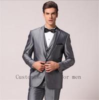 Wholesale Mens Complete Suits - Wholesale- High Quality 2016 Handsome Mens Complete Designer Tuxedo Bridegroom Fashion Costume Homme (Jacket+Pants+Vent+Tie)Men Suits