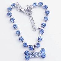 Wholesale Diamante Bone - Pet Necklace Collar Dog Jewelry Fashion Crystal Diamante Bone Rhinestone Pendant for Puppy 3 Sizes