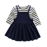Wholesale Navy Stripes Dresses Baby - Infant cute outfits baby girls stripe long sleeve T-shirts+navy style suspender pleated dress 2pcs sets toddler kids autumn clothes C1058