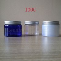 Wholesale Aluminum Can Covers - Plastic Empty Cream Jars Cosmetic Packaging Bottle Silver aluminum cover, Refillable Makeup Cans,100G Lotion Cream Containers