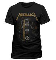 Wholesale El Guitar - Wholesale- Metallica Hetfield Iron Cross Guitar Black Men's T shirt Hip Hop Rock Metal Mens Casual Shirts Custom Man Fashion Clothing Tees