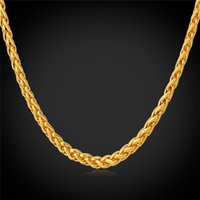 Wholesale gold rope china - U7 3MM Rope Chain Necklace for Men Fashion Jewelry 18'' 22'' 26'' 28'' 30'' Gold Plated Stainless Steel DIY Chains Accessories