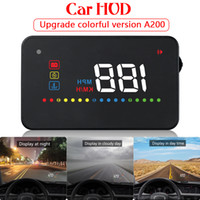 Wholesale 3 quot HD Display A200 OBD II Car HUD Auto OBD2 Head Up Display Windshield Projector Speedometer Over Speed Warning Alarm System