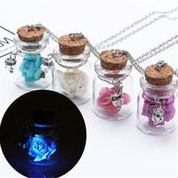 Wholesale gem bottle resale online - Silver Necklace Luminous Wishing Bottle Glass Crystal Necklaces Pendants Flower Jewelry Accessories Luminous Gem Pendant for Women