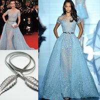 Wholesale Tulle Short Coral Bead - Li Bingbing in Zuhair Murad Red Carpet Evening Dresses Overskirts Lace Applique Beads Lace Poet Short Sleeve Formal Prom Celebrity Gowns