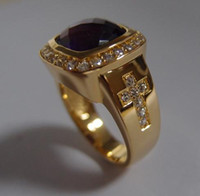 Custom Design 12mm * 12mm Natural Gemstone Amethyst Para Bishop Anéis Com Dois Cross Ring
