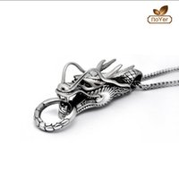 Wholesale Girls Dragon Jewelry - Wholesale Vintage Winged Dragon Pendant Necklace For Girl Boy Stainless Steel No Fade Jewelry