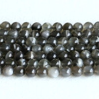 "Wholesale Black Moonstone Beads - Real Genuine Natural Black Moonstone flash light Round Loose Gemstone Ball Beads 6mm 8mm 10mm 12mm 15"" 05146"