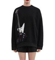 Wholesale Black Star Guitar - New arrival Star clothing plus a cashmere rock guitar embroidery rivets loose sweatshirt cashmere women's clothing