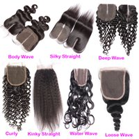 Wholesale Lace Top Closure Pieces - Raw Indian Hair Lace Closure Free Middle 3 Part 4x4 Water Wave Top Lace Closures Piece Bleached Knots 100% Human Hair For Sale