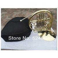 Wholesale French Horn Double - wholesale Beautiful Double Row 4 Key Single French Horn FB Key French Horn with Case Surface Gold Plated Horn