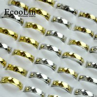 Wholesale Stone Rings Designs Men - EcooLin Jewelry 3 Colors Mixed New Design Gold Stainless Steel Rings For Women Men Jewelry Wholesale Bules Ring Lots Never Fade LB4014