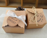 Wholesale Brown Favors - Brown Kraft Paper Box Party Gift Wedding Favors Candy Handmade Soap Jewelry Packing Vintage Boxes blank tag write by yourself