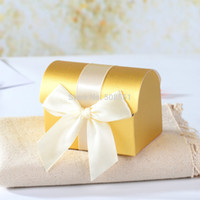 Wholesale Gold Treasure Chest - Wholesale- FREE SHIPPING-- HOT Gold Treasure Chest Favor Candy Gift Boxes With Ribbon For Party Favors 12pcs