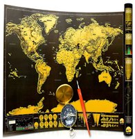 Wholesale Vinyl Coat Black - Diy World Map Travelling Scratch Map Deluxe Erase Travel Map Foil Layer Coating Vintage bts Poster Wall Stickers Home Decoration