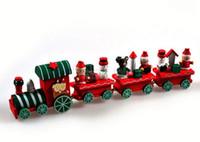 Wholesale Friends Decor - Vintage Wood Train Christmas Ornaments Santa Claus Dolls Decoration Mini 4 Trains birthday party wedding decor friends favor gift filler bag