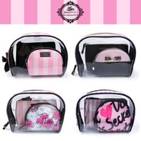Wholesale Travelling Beauty Case - landy house fo victoria's Transparent Cosmetic Bags PVC Makeup Bags Travel Organizer Necessary Beauty Case Toiletry Bag Bath Wash Make up