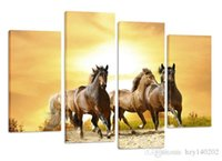 Wholesale Horse Picture Frames - YIJIAHE DW92 Canvas Painting Art 4 Pieces horse Wall Art Pictures Print On Canvas Become Paintings To Decorate Your House Office ect.
