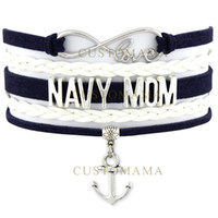 Custom-Army Navy Bracelet da mãe United States Infinity Love Corpo de fuzileiros navais Air Force Anchor Charm Wrap Braided Adjustable Bracelet-Drop Shipping