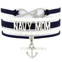 Custom-Army Navy Bracelet de la mère États-Unis Infinity Love Marine Corps Air Force Anchor Charm Wrap Braided ajustable Bracelet-Drop Shipping