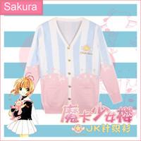 Wholesale uniform cardigan sweater - Wholesale- 2016 New Anime Card captor Sakura JK Uniform Lolita gradient pink Cosplay Cardigan Sweater Top shirt in stock free shipping