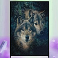 Wholesale Two Panel Canvas Paintings - YGS-590 DIY 5D Partial Diamond Embroider The Two Wolves Round Diamond Painting Cross Stitch Kits Diamond Mosaic Home Decor