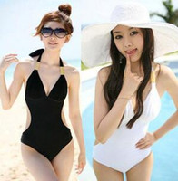 Wholesale Xxl Monokini - Sexy White Woman's Bikini Swimsuit Swimwear One Piece Monokini Halter Back Tied Summer Swimsuit Bathing Suit Swimwear Big Size M L XL XXL