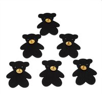 ingrosso pulsanti di legno nero-Bottoni di legno all'ingrosso di legno di forma dell'orso nero due fori 48.5mm x40.2mm 90pcs Bottone di legno del fumetto stampato Accessori per abbigliamento per bambini