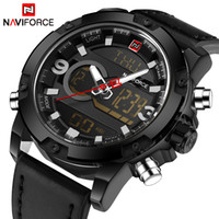 Wholesale Digital Day Clock - NAVIFORCE Luxury Brand Men Sport Leather Watches Men's Quartz LED Digital Clock Male Army Military Wrist Watch Relogio Masculino