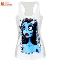 Wholesale Womens Sleeveless Tank Sexy Tops - Alisister Polyester Sexy Women Tank Top Print Corpse Bride Top 3d Sleeveless Shirt Creepy Clothing Womens Harajuku Crop Top 17310