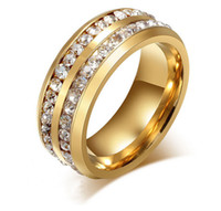 Wholesale two finger ring women resale online - Fashion Gold Silver Plated Stainless Steel Two Rows Swarovski Crystal Rings for Men Women Lovers Finger Rings Men Ring Wedding Jewelry